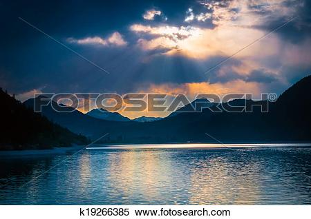 Stock Image of mystic mood at austrian lake with clouds where.