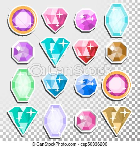 Gems Isolated Vector. Precious Stones Shimmer And Shine. Multicolored Round  Brilliant Cut, Top View. Isolated Illustration.
