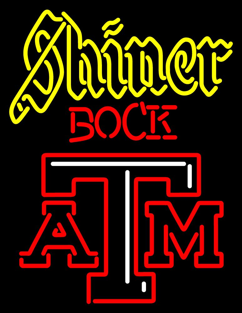 Shiner Bock A And M Logo Neon Sign, University Neon Sign.