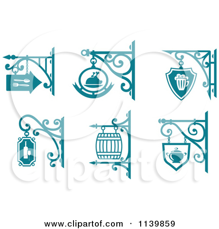 Clipart Of Teal Pub Cafe Restaurant Shingle Signs 2.