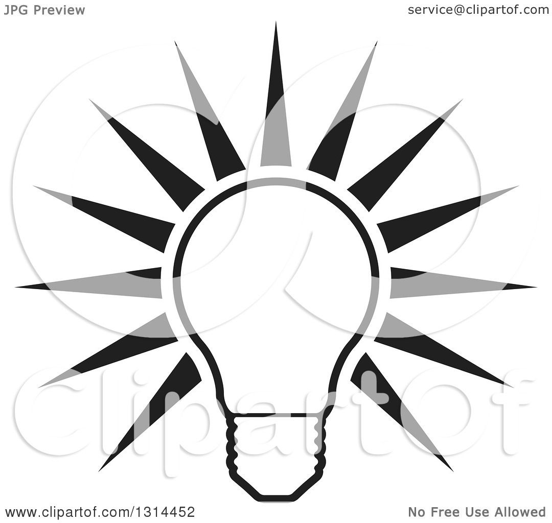 Clipart of a Shining Black and White Bright Light Bulb and Rays.