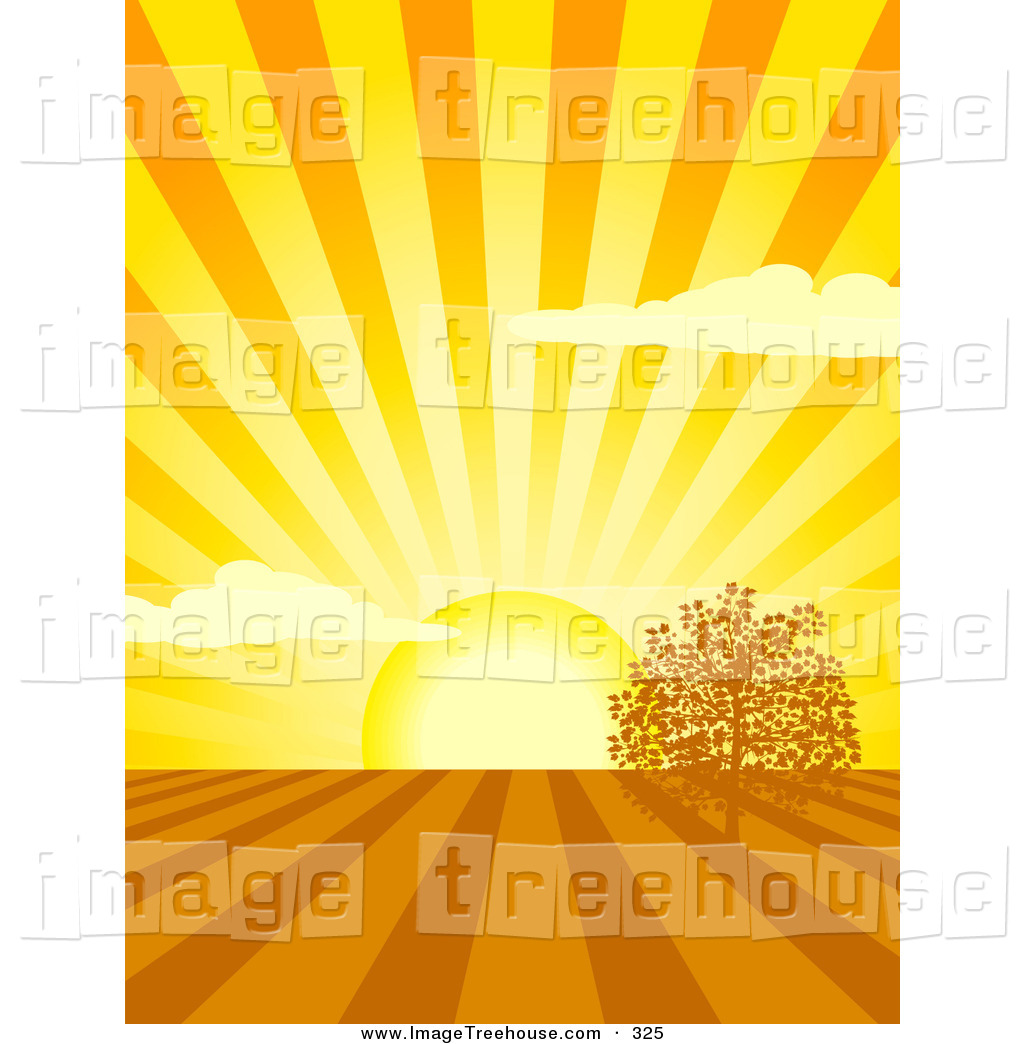 Clipart of a Bright Yellow Spring Sun Shining Rays over Cultivated.