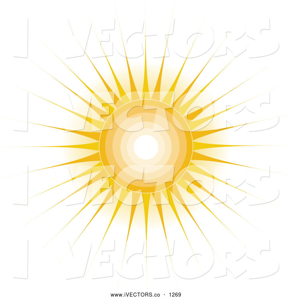 Vector Graphic of a Shining Sun with Rays by Maria Bell.