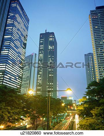 Stock Photography of Illuminated high buildings in Shinjuku, Tokyo.