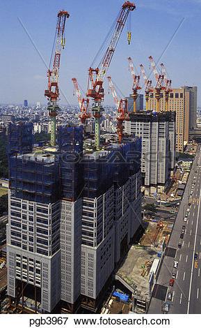 Picture of Japan. Tokyo. Shinjuku. Construction of new City Hall.