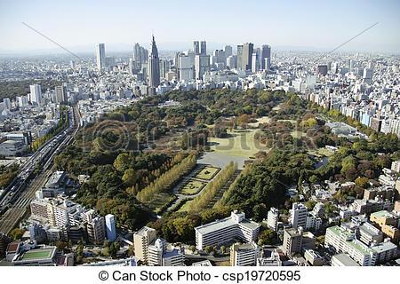 Stock Photographs of Aerial view of Shinjuku Gyoen National Garden.