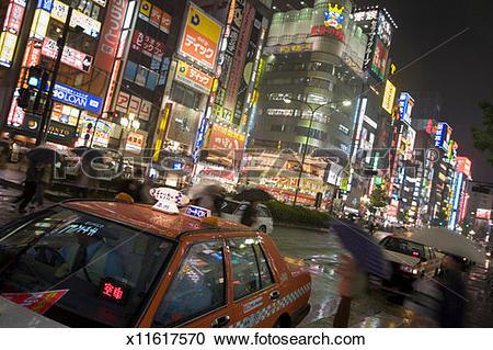 Stock Photography of Japan, Tokyo, Shinjuku Ward, busy street.