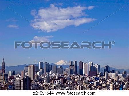 Stock Photo of Japan, Tokyo, Shinjuku District, skyline, elevated.