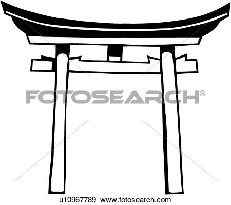 Clip Art of , asian, religion, shinto, shintoism, temple, torii.