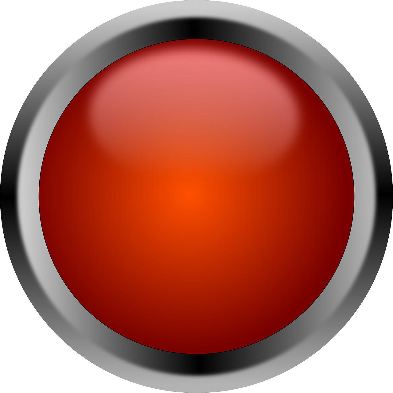 Button Red Round Shiny PNG.