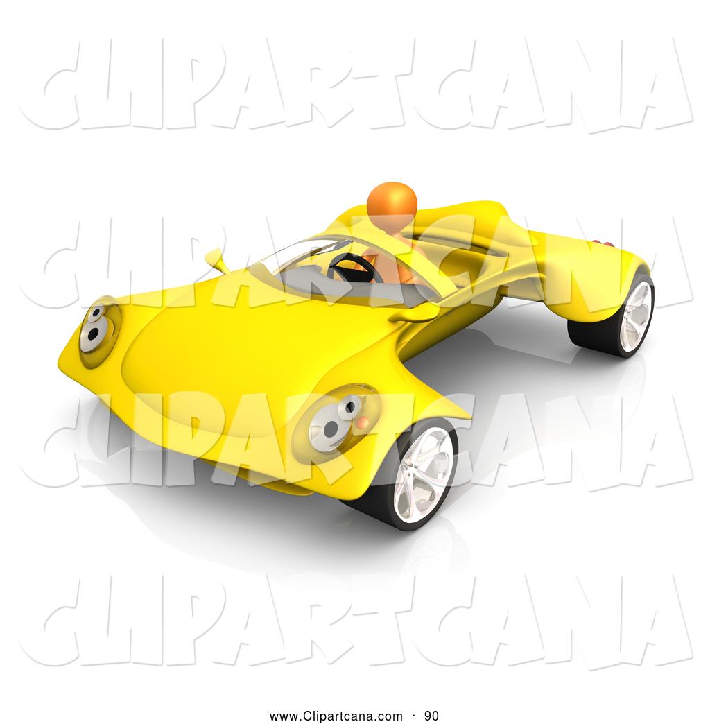 Clip Art of a Shiny Orange Person Driving a Futuristic.