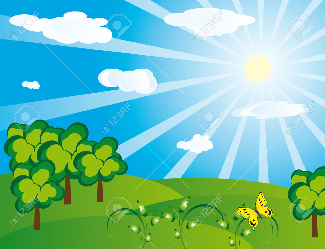 Green Landscape On A Sunny Day. Vector Illustration Royalty Free.