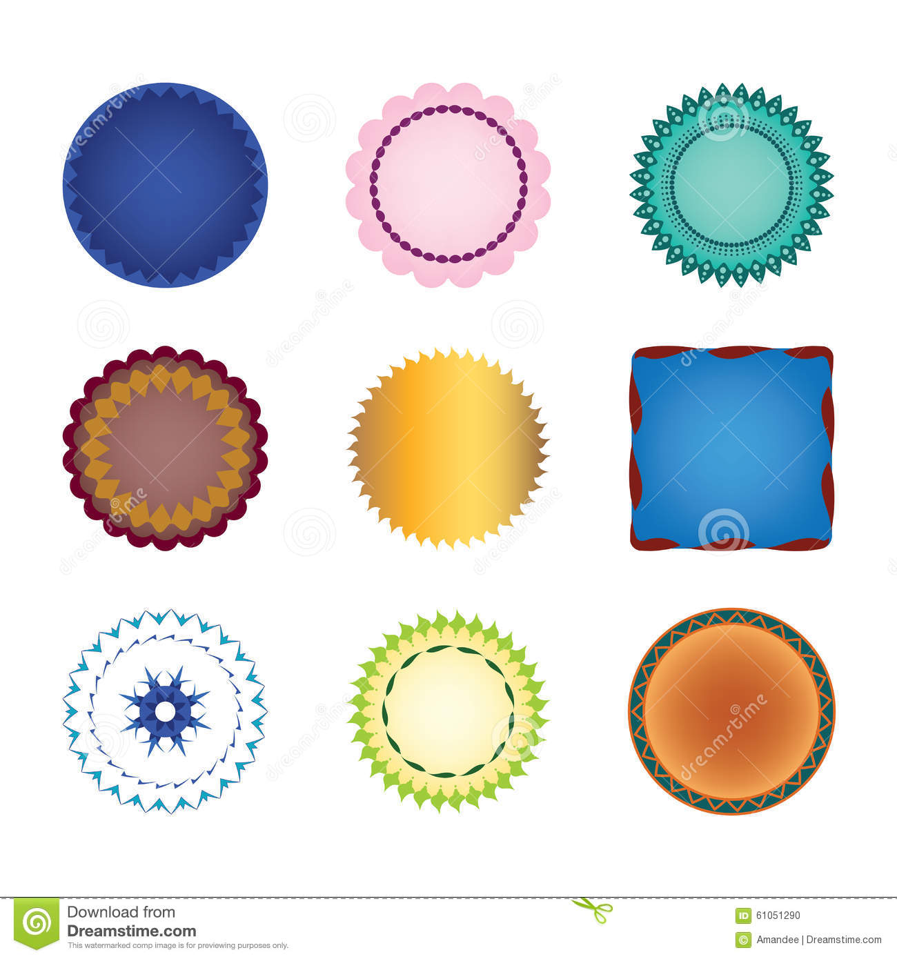 Collection Of Vector Shapes Labels Stickers Or Stamps With Lace.