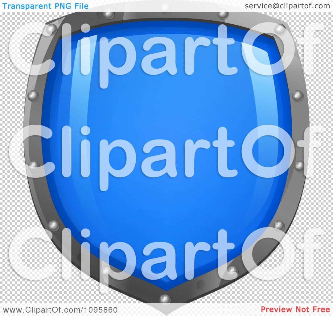 Clipart Shiny Blue Shield With Silver Edges.