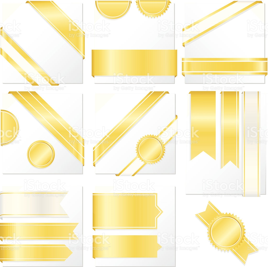 Corner Edge Ribbons Labels Banners Stickers Set Shiny Yellow Gold.