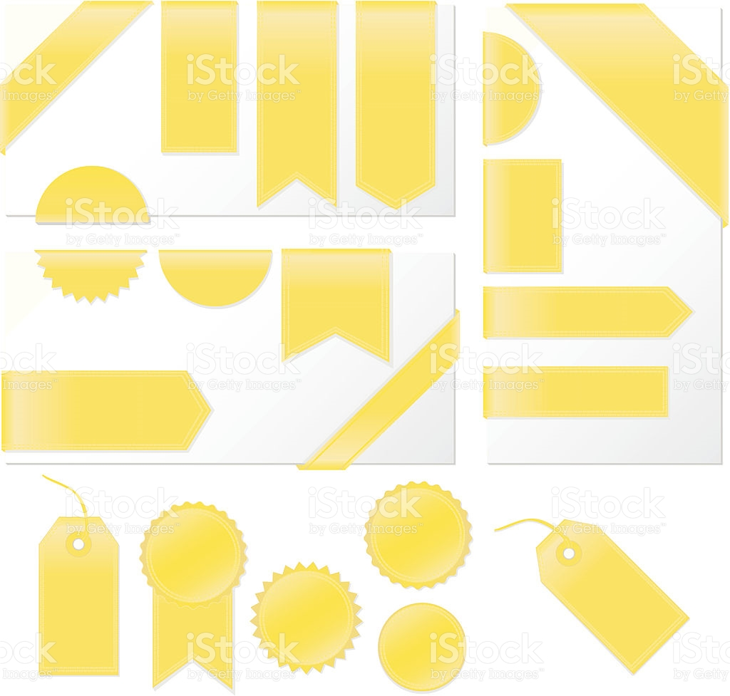 Corner Edge Ribbons Labels Banners Stickers Set Shiny Yellow Satin.