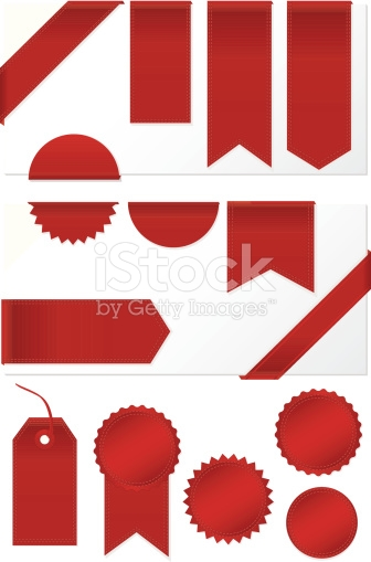Corner Edge Ribbons Labels Banners Stickers Set Shiny Red Satin.