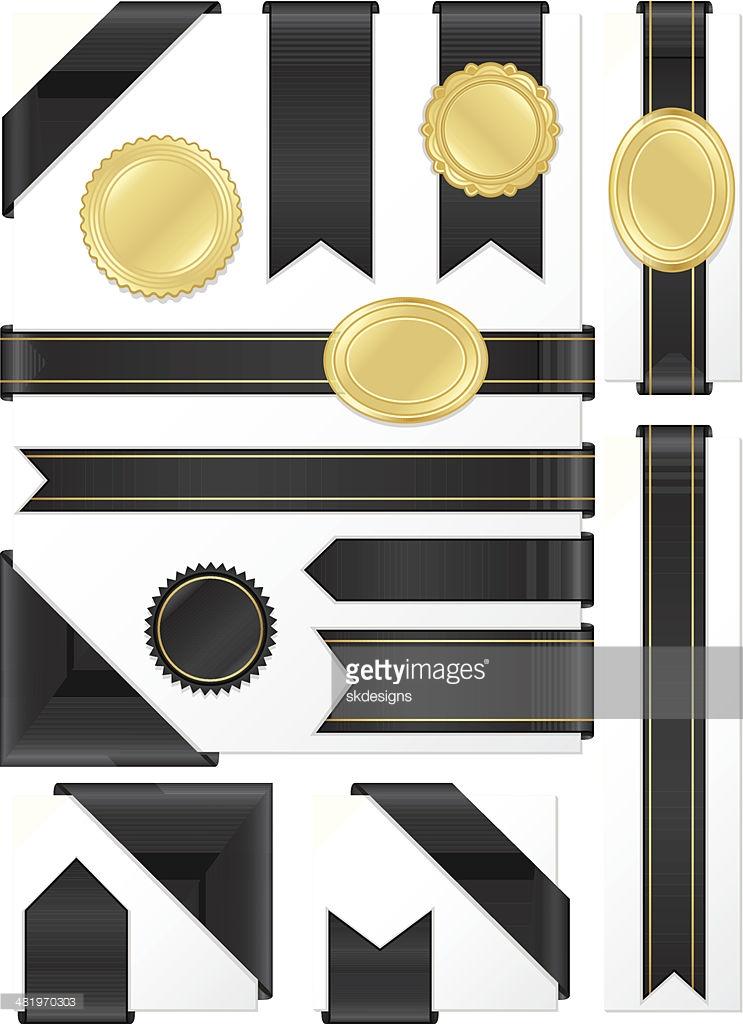 Corner Edge Ribbons Labels Stickers Set Shiny Black Satin Gold.