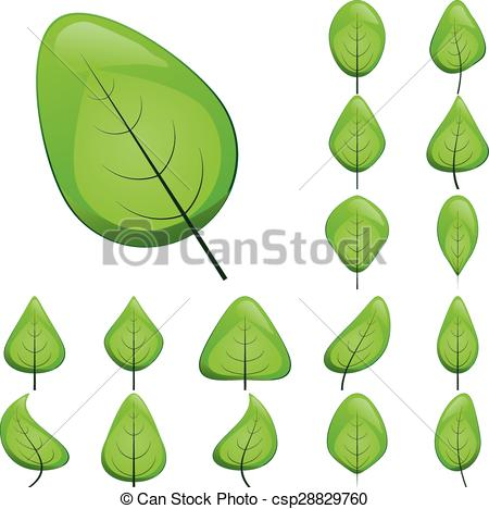 Clip Art Vector of Collection of leaf icons.