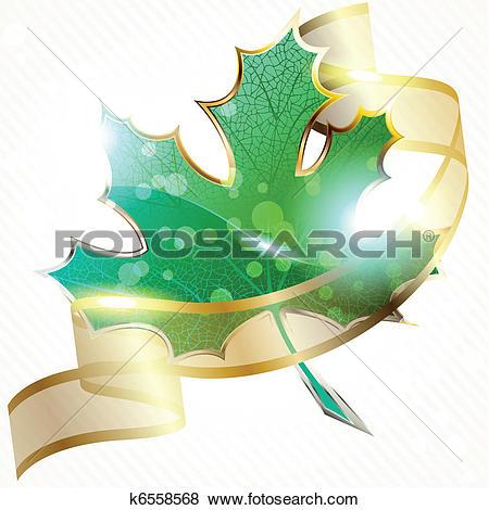 Clip Art of Shiny leaf with transparent banner k6558568.