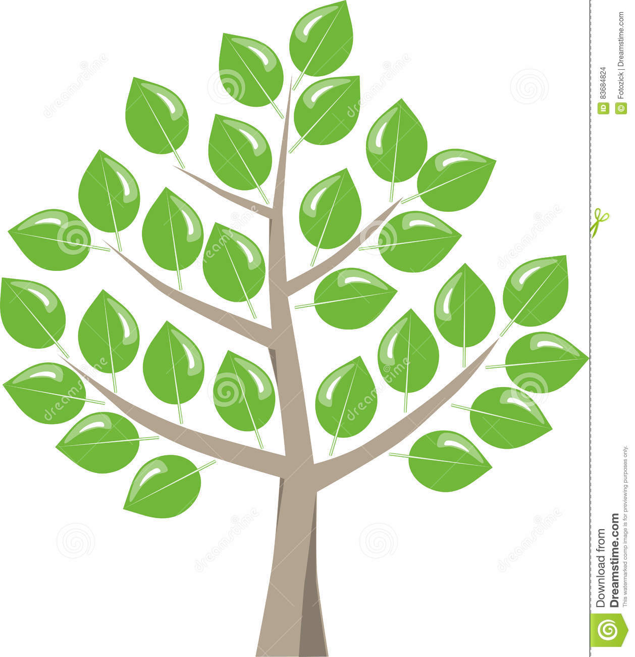 Tree With Shiny Leaves Stock Vector.