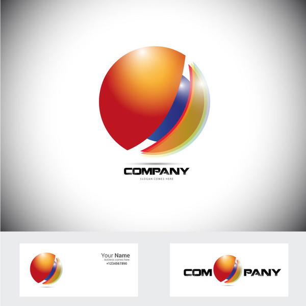Corporate logo design with 3d shiny circle illustration Free.