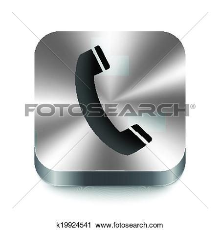 Clipart of Phone sign on brushed shiny metal button k19924541.