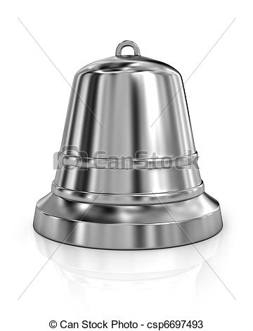 Drawings of Shiny metal bell isolated on white background.