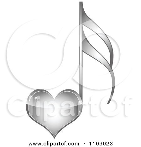 Clipart Shiny Silver Heart Love Music Note.
