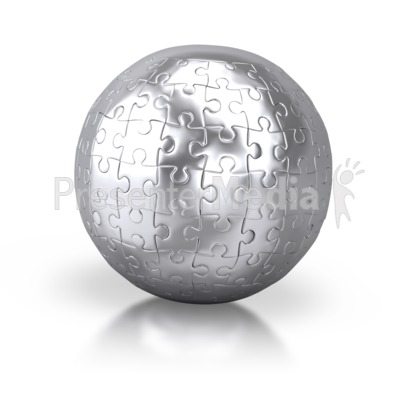 Shiny Silver Puzzle Globe Americas.