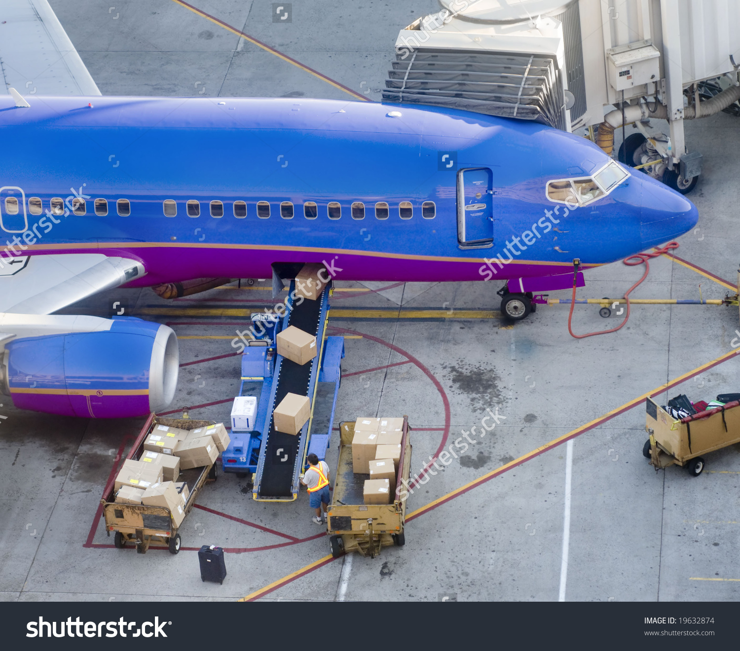 Loading Freight Cargo Onto Aircraft Stock Photo 19632874.