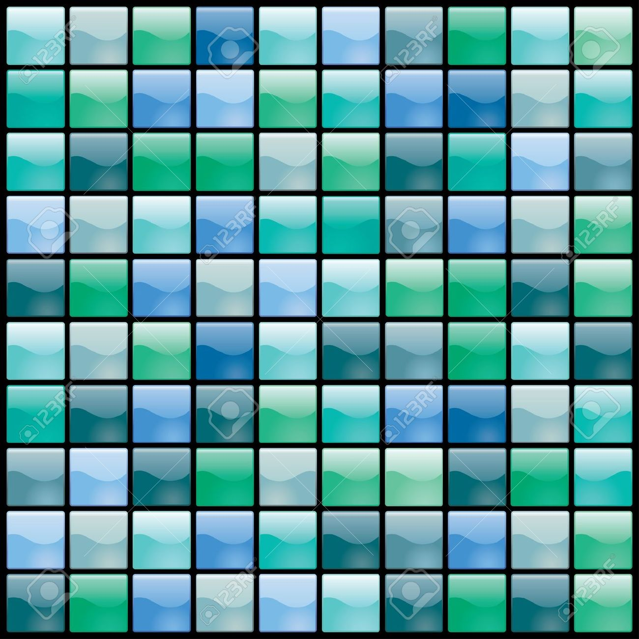 Vector Shiny Tiles Seamless Pattern In Green And Blue Royalty Free.