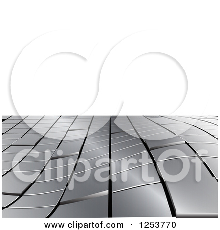 Clipart of a 3d Shiny Metal Tile Wave over White Background.