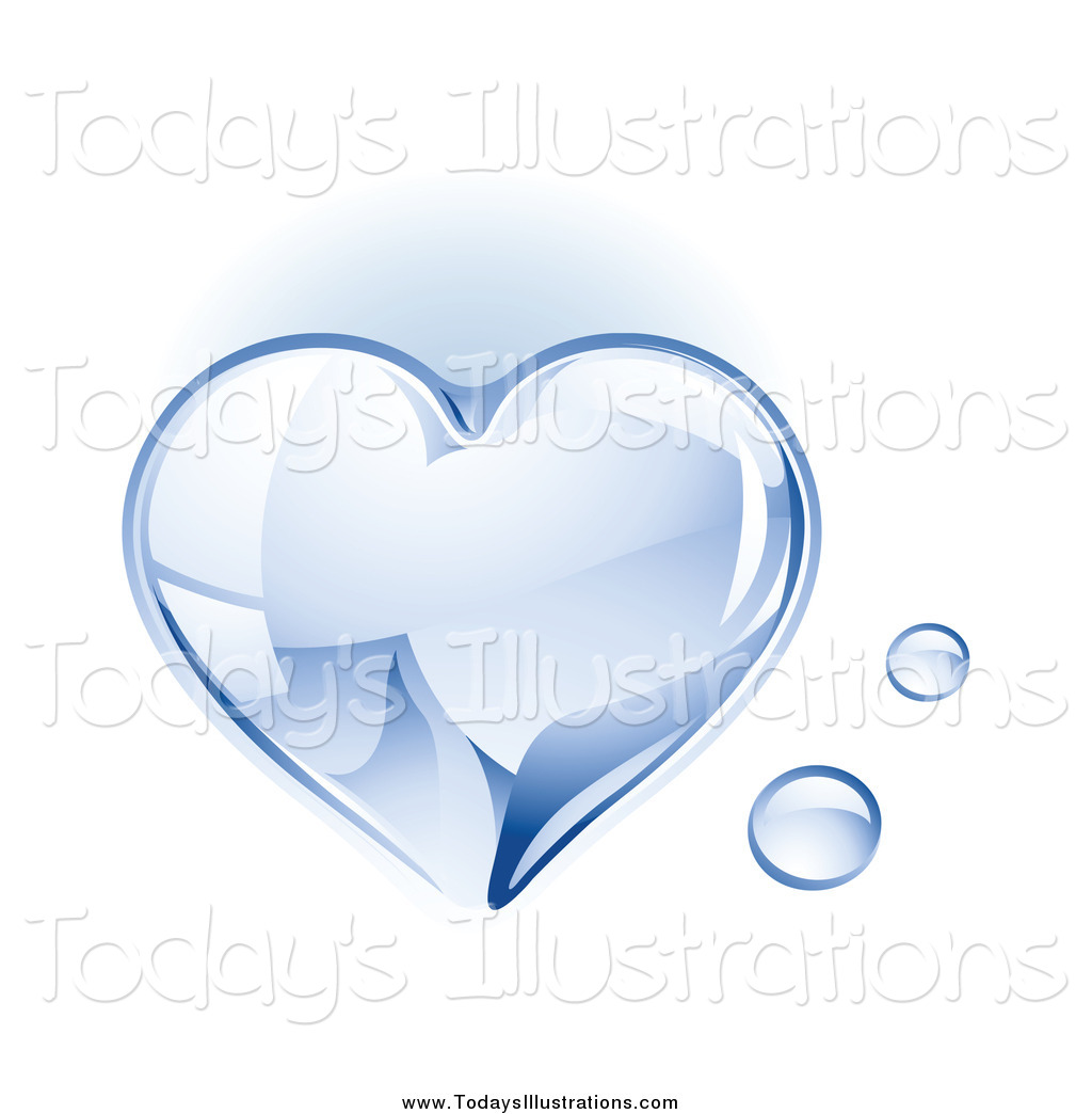Clipart of a 3d Shiny Water Drop Heart by TA Images.