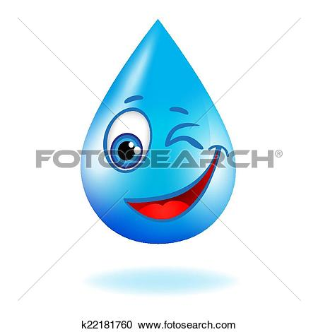 Clipart of Blue shiny water drop with eyes k22181760.