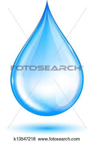 Clip Art of Blue shiny water drop k13547218.