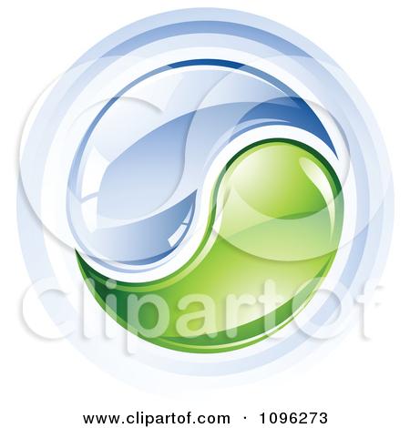 Clipart 3d Shiny Water And Green Yin Yang.