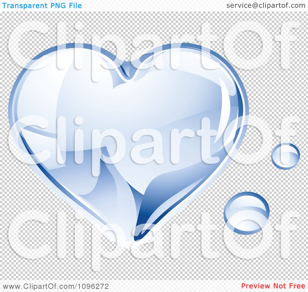 Clipart 3d Shiny Water Droplet Heart.
