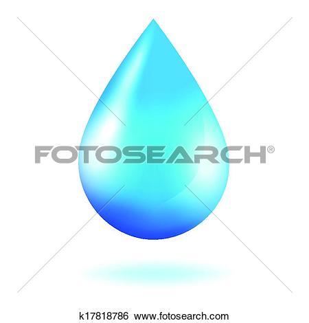 Clip Art of Blue shiny water drop k17818786.