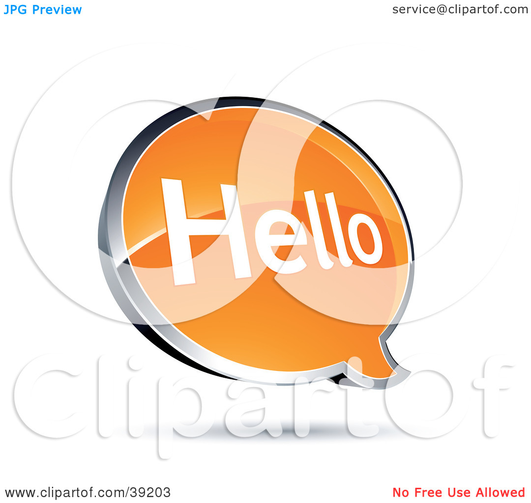 Clipart Illustration of a Shiny Orange Hello Chat Window by beboy.