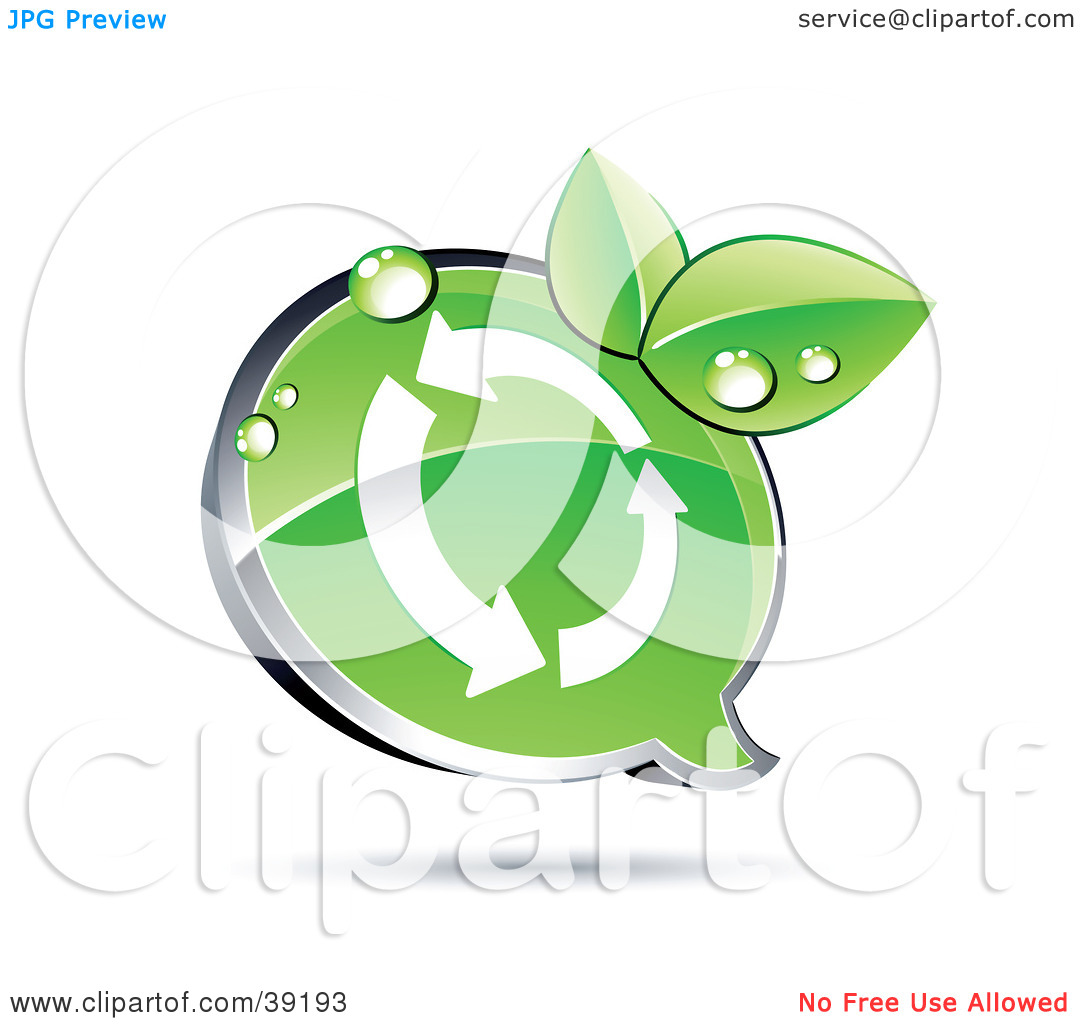 Clipart Illustration of a Shiny Green Recycle Chat Window With.