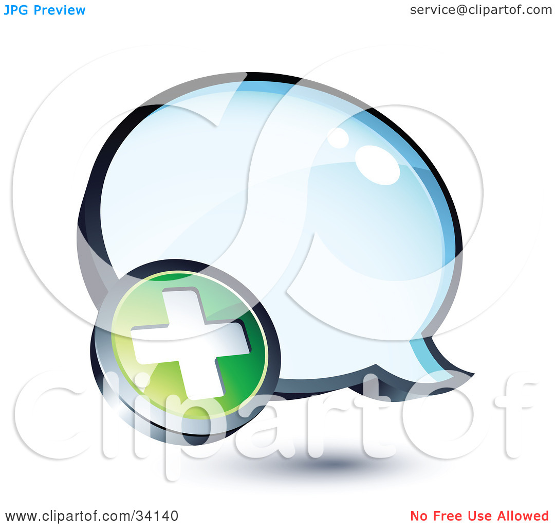 Clipart Illustration of a Positive Plus Mark On A Shiny Blue.