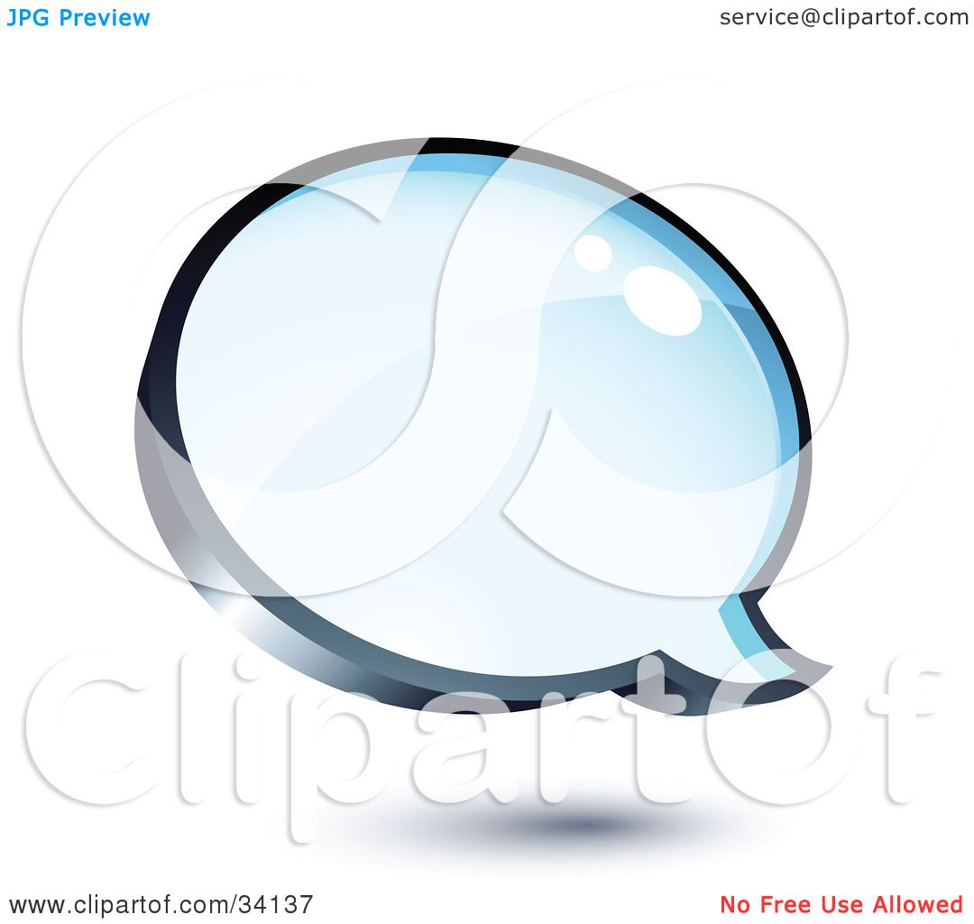 Clipart Illustration of a Shiny Blue Thought Balloon Or Instant.