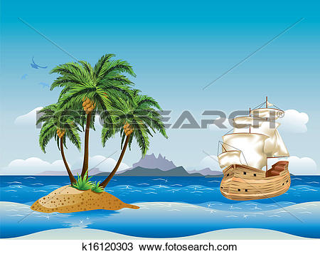 Clipart of Old ship in the sea k16120303.