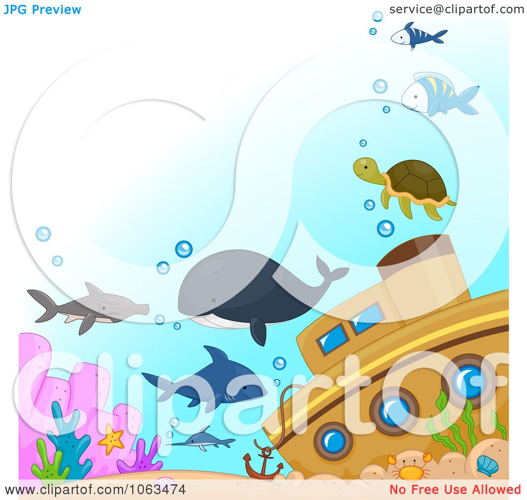 Clipart Sea Creatures By A Sunken Ship.
