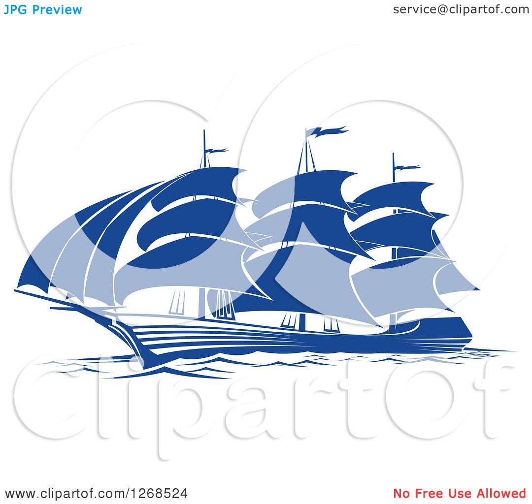 Clipart of a Blue Ship at Sea 2.