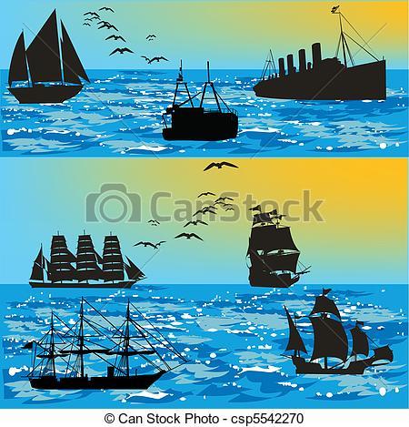Vector Clipart of ships at sea.