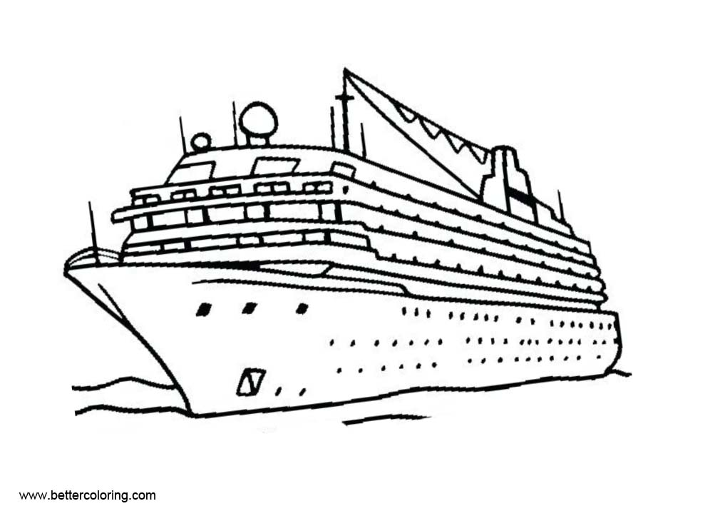 Cruise Ship Clip Art Black and White Coloring Pages.