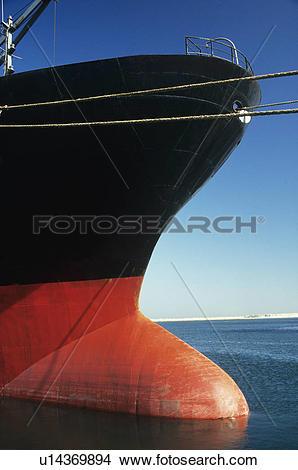 Stock Photo of Bulbous bow of stationary ship u14369894.