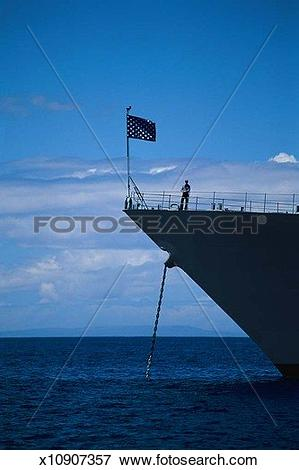 Picture of Bow of ship with lone sailor x10907357.